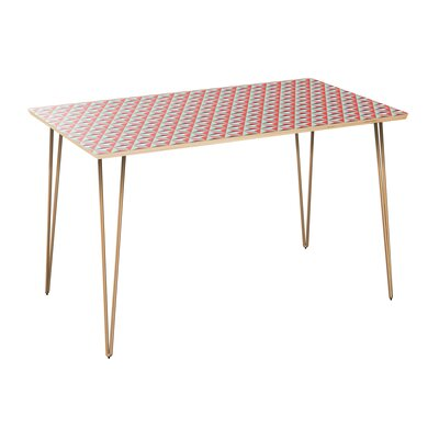 Cape Dining Table Table Top Color: Natural, Table Base Color: Brass