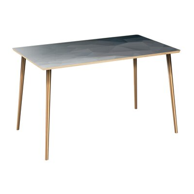 Clary Dining Table Table Top Color: Natural, Table Base Color: Brass