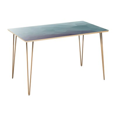 Coole Dining Table Table Top Color: Natural, Table Base Color: Brass