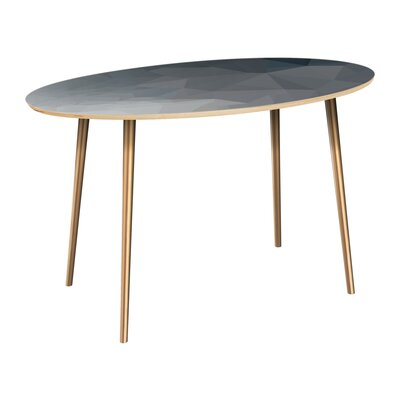 Claudio Dining Table Table Top Color: Natural, Table Base Color: Brass