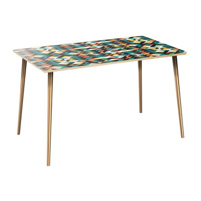 Coonrod Dining Table Table Top Color: Natural, Table Base Color: Brass