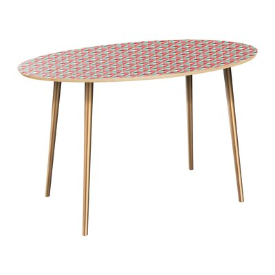 Canale Dining Table Table Top Color: Natural, Table Base Color: Brass