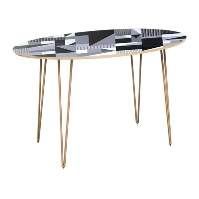 Canipe Dining Table Table Top Color: Natural, Table Base Color: Brass