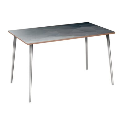 Clary Dining Table Table Base Color: Chrome, Table Top Color: Walnut