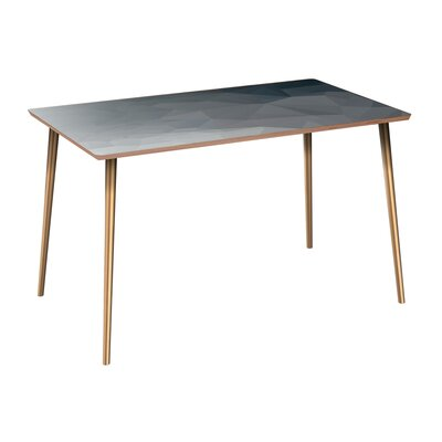 Clary Dining Table Table Base Color: Brass, Table Top Color: Walnut