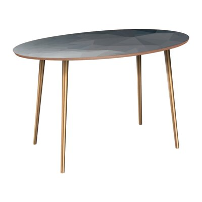 Claudio Dining Table Table Base Color: Brass, Table Top Color: Walnut