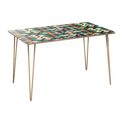 Coomes Dining Table Table Base Color: Brass, Table Top Color: Walnut