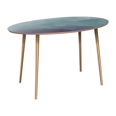 Claus Dining Table Table Base Color: Brass, Table Top Color: Walnut