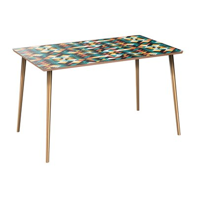 Coonrod Dining Table Table Base Color: Brass, Table Top Color: Walnut