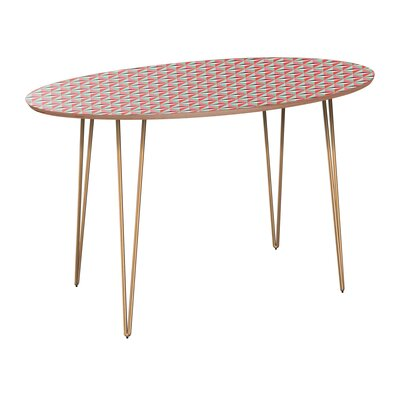 Camryn Dining Table Table Base Color: Brass, Table Top Color: Walnut