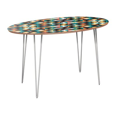 Cleanthes Dining Table Table Base Color: Chrome, Table Top Color: Walnut