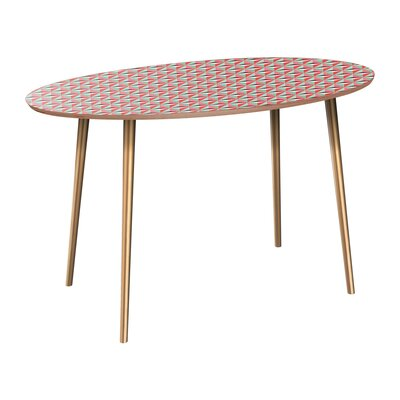 Canale Dining Table Table Base Color: Brass, Table Top Color: Walnut