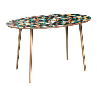 Cleaver Dining Table Table Base Color: Brass, Table Top Color: Walnut