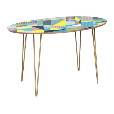 Candler Dining Table Table Base Color: Brass, Table Top Color: Walnut