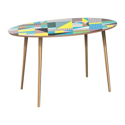 Cangelosi Dining Table Table Base Color: Brass, Table Top Color: Walnut