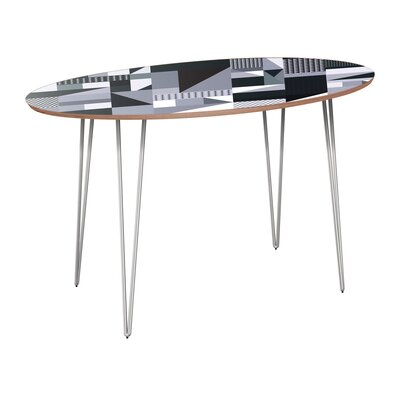 Canipe Dining Table Table Base Color: Chrome, Table Top Color: Walnut