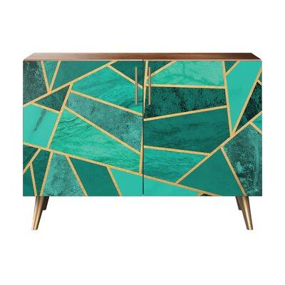 Lyle 2 Door Cabinet Color: Brass/Walnut