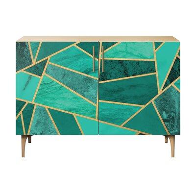 Lusk 2 Door Cabinet Color: Brass/Natural