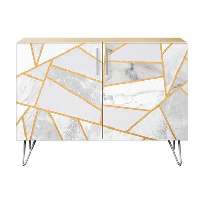Lynch 2 Door Cabinet Color: Chrome/Natural