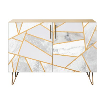 Lynch 2 Door Cabinet Color: Brass/Natural