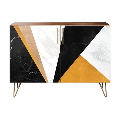 Mcintosh 2 Door Cabinet Color: Brass/Walnut