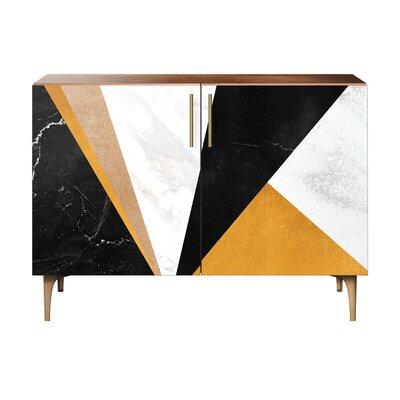 Mckinley 2 Door Cabinet Color: Brass/Walnut