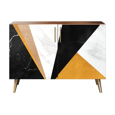 Mckinney 2 Door Cabinet Color: Brass/Walnut