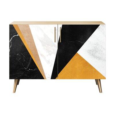 Mckinney 2 Door Cabinet Color: Brass/Natural