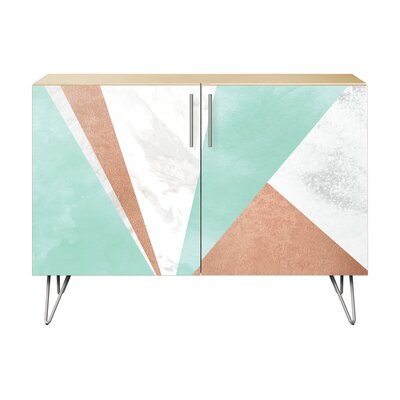Merchant 2 Door Cabinet Color: Chrome/Natural