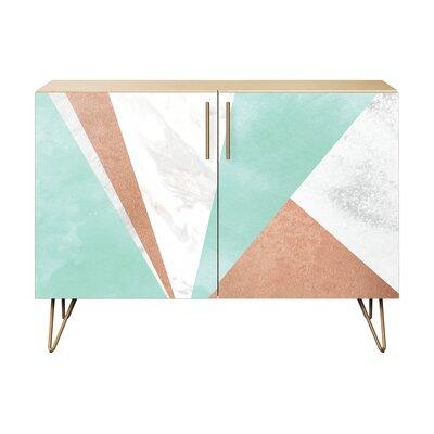 Merchant 2 Door Cabinet Color: Brass/Natural
