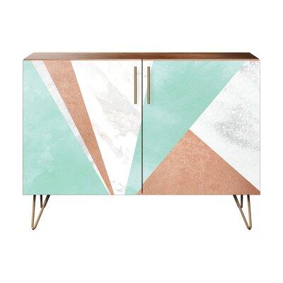 Merchant 2 Door Cabinet Color: Brass/Walnut