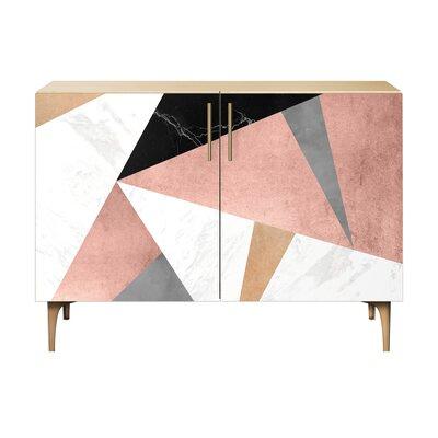 Mitchell 2 Door Cabinet Color: Brass/Natural