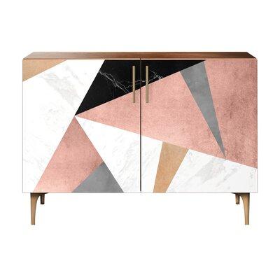 Mitchell 2 Door Cabinet Color: Brass/Walnut