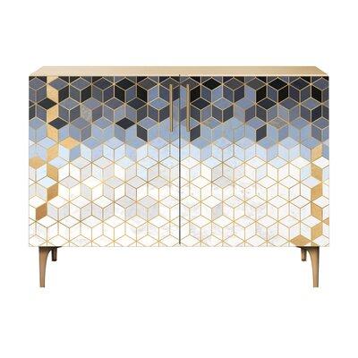 Levin 2 Door Cabinet Color: Brass/Natural