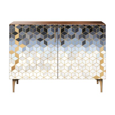 Levin 2 Door Cabinet Color: Brass/Walnut