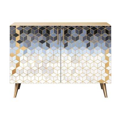 Levy 2 Door Cabinet Color: Brass/Natural
