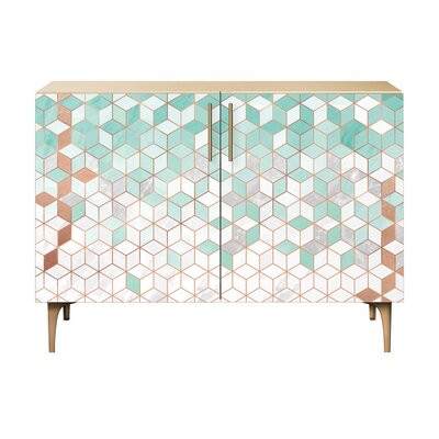 Lockwood 2 Door Cabinet Color: Brass/Natural