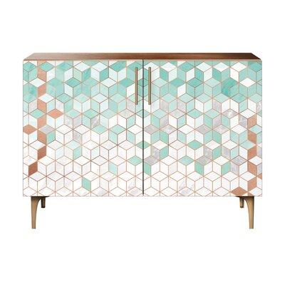 Lockwood 2 Door Cabinet Color: Brass/Walnut