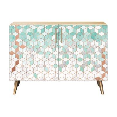 Lofton 2 Door Cabinet Color: Brass/Natural