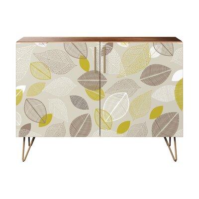 Rushden 2 Door Cabinet Color: Brass/Walnut
