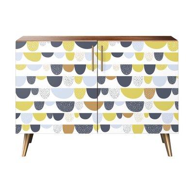 Mcclure 2 Door Cabinet Color: Brass/Walnut