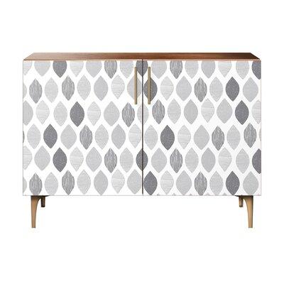 Nance 2 Door Cabinet Color: Brass/Walnut