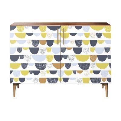 Mccloud 2 Door Cabinet Color: Brass/Walnut