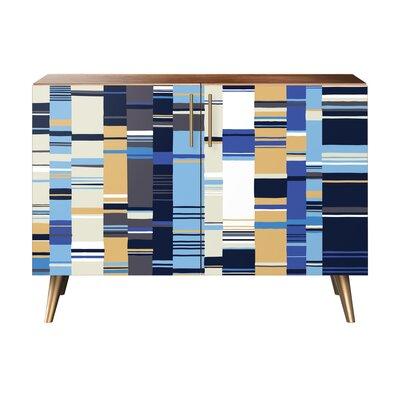 Oneal 2 Door Cabinet Color: Brass/Walnut
