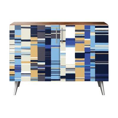 Oneal 2 Door Cabinet Color: Chrome/Walnut