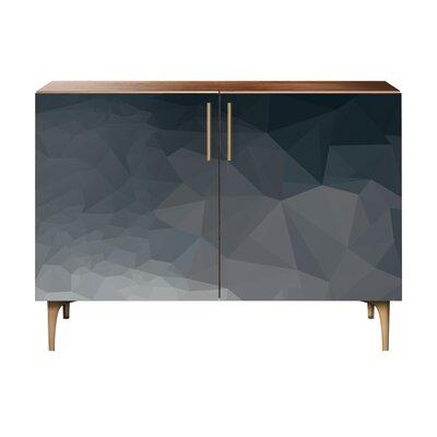 Neal 2 Door Cabinet Color: Brass/Walnut
