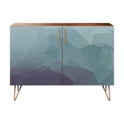 Nugent 2 Door Cabinet Color: Brass/Walnut