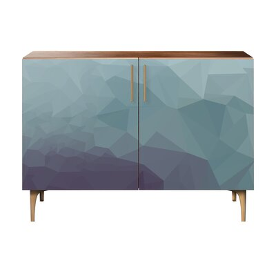 Oakes 2 Door Cabinet Color: Brass/Walnut