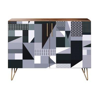 Maurer 2 Door Cabinet Color: Brass/Walnut