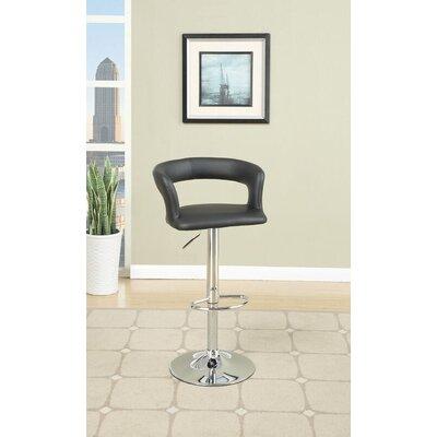 Dougan Adjustable Height Swivel Bar Stool Upholstery: Black